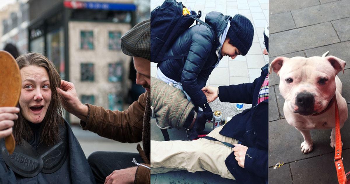 Ein Friseut und ein Tierarzt arbeiten zusammen und helfen den Obdachlosen und ihren Hunden